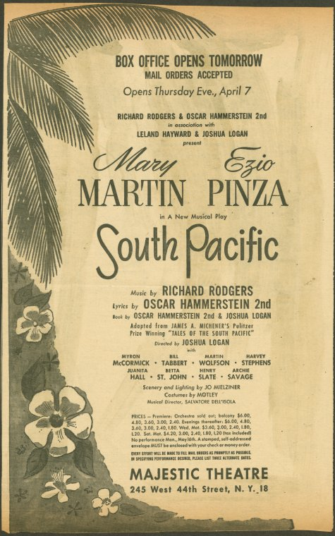 Detail from the printed program for the musical South Pacific, Courtesy of the New York Public Library digital collections.