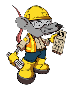 illustration of a friendly rat wearing construction gear, holding a flashlight and brochure