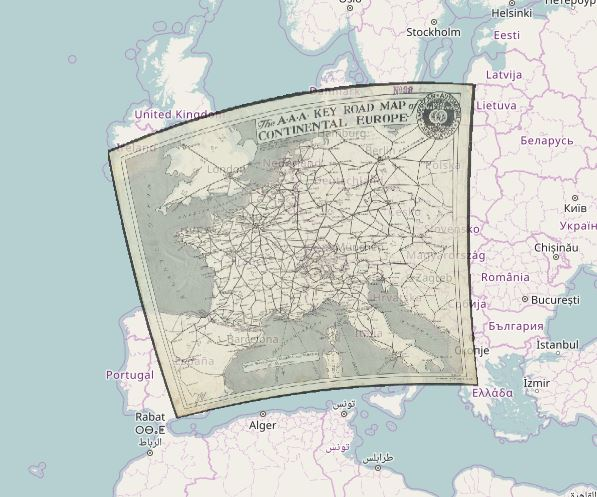 georeferenced map of western Europe