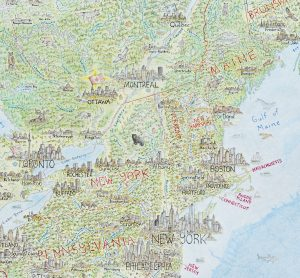 The North American Continent: A Pictorial Map @ Boston Public Library, Commonwealth Salon