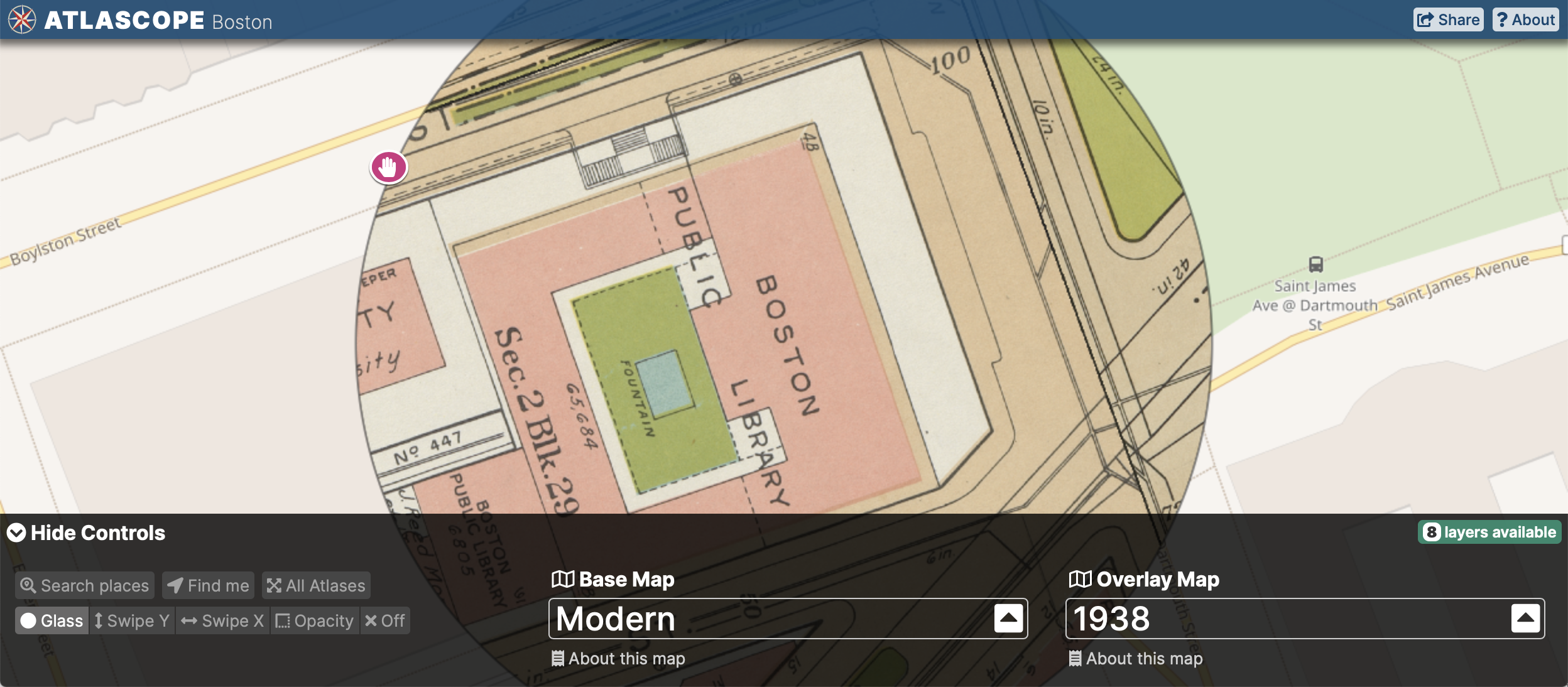 View of the Atlascope tool centered on the BPL in Copley Square